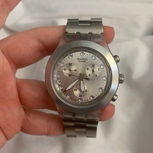 Silver swatch watch